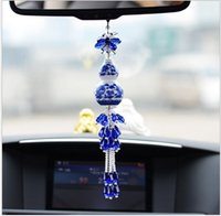 Wholesale ceramics car pendants Blue and white porcelain vase Auto supplies interior Vehicle bone Hangings