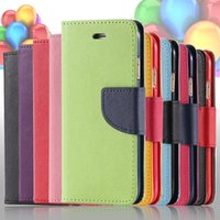 Wholesale New Fashion Ultra Flip PU Leather Case For Apple iPhone For iPhone Plus inch Hit Color Wallet Holster Cover i6 i6