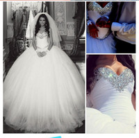 Wholesale Gorgeous Handmade Rhinestones Dazzling Princess Ball Gown Wedding Dresses New Long Best Quality Perfect Popular Crystal Winter Elegant