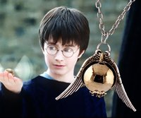 Cheap Gold Snitch Necklace Harry Potter And The Deathly Hallows Pendant Golden Ball Necklace Free Shipping