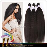 Wholesale Mongolian kinky straight hair weaves Coarse Yaki Pieces Human Hair Weaves yaki human hair quot quot Natural Black Kinky Straight
