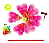 Wholesale 100 pieces DHL cartoon the blossom flowers bees heart shaped windmill plastic children s toys DIY