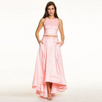 Wholesale High Low Light Pink Long Skirts For Women Fashion Taffeta Floor Length Skirt Zipper Style Pleat Solid Color Custom Made Hot