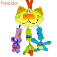 Wholesale Cute Cat Design Baby Toys Plush Rattles Learning Education Toy Mulitifunctional Bed Hang Bell Stroller Toy Gifts