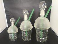 Chaud, vente, kalian, Starbuck, verre, verre, eau, tuyau, original, opaque, clair, vert, concentré, huile, plate-forme
