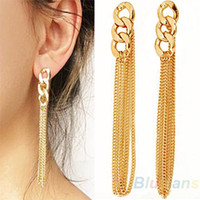 Wholesale Retro Women Long Chain Drop Earrings Fancy Dress Golden Tassel Chain Ear H3V