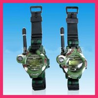 Wholesale New Pair quot LCD Radio M Watches Walkie Talkie w Lights Mic PT409 Hot Selling