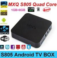 Wholesale 2015 Original MXQ TV BOX Amlogic S805 Quad Core IPTV Android TV box Kitkat GB GB WIFI Miracast Pre installed Kodi XBMC