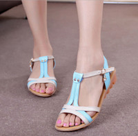 big beef - summer LF213 flat heel Genuine leather sandals Contrast color Beef tendon Soft bottom Slides open toed Big Women s shoes