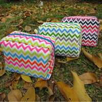 Polyester chevron bag - Blanks Multi colors Chevron Makeup Bag Zig Zag Polyester Womens Cosmetic Cases Via FedEx DOMIL106001