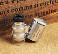 Wholesale Newest Mini Pocket X Microscope Magnifier Loupe With the money detector light mini microscope high quality