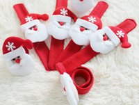 Wholesale 50Pcs New Christmas Gift Xmas Santa Claus Snowman Toy Slap Pat Circle Bracelet Wristhand Christmas Tree Decoration Ornament