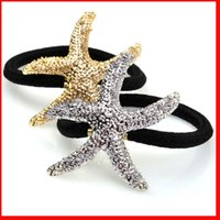 Wholesale Fashion Starfish star Pony Tails Holder rubber bands cuff for women kids gold silver Five pointed star Hair Jewelry head dress