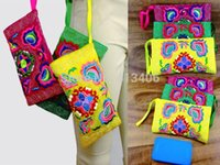hippie bags - 3 pc set of Vintage Hmong Thai Indian Ethnic cosmetic Hobo Hippie makeup holder wallet bag full embroidery L Size