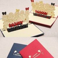 wholesale gift cards - Happy Kids birthday card Handmade Creative D Pop UP Greeting Gift Cards invitation card