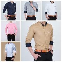 Wholesale 2016 High Quality M xl mens shirt long Sleeve Splice Slim Design Formal Casual Male Cotton men business shirt BY DHL