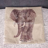 Wholesale Elephant and rhino Printed Square Fashion linen Throw Pillow Cases Home Sofa Decorative Cushion Cover