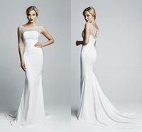 Cheap 2015 Mermaid Spandex Tight Maxi Wedding Dresses with Cap Sleeve Sheer Bateau Neckline Beaded Hollow Back White Beach Vintage Bridal Gowns