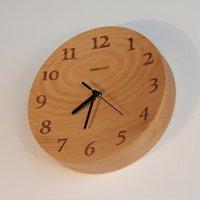 beech wall clock - Wood wall clock wood brief silent movement beech concatenations wood round clock