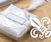 Wholesale wedding favor Fleur de lis bookmark with Elegant white tassel bridal shower party supplies flower de luce Iris with tassel