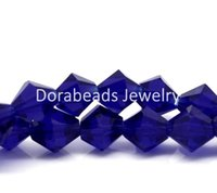 Wholesale Dark Blue Faceted Bicone Crystal Glass Beads x6mm Approx B15929