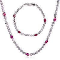 Wholesale Italian secret set auger ruby zircon drill the bride wedding dress accessories necklace bracelet sets of jewelry