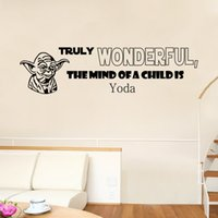 art of star wars - 2016 New Arrival Star Wars Yoda Wall Art Mural Decor Sticker Truly Wonderful the Mind of A Child is Wall Quote Decal Poster Wall Applique