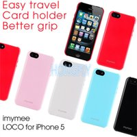 Wholesale Stylish Korea imymee card slot plastic case for iphone S Latest colorful shell holder protector for iPhone5 S