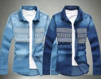Wholesale New Men Washed Denim Jacket Increase National Wind Printing Long sleeved Casual Shirt w Colors Size M L XL XL XL XL XL XL