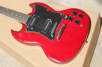 Hot Sale SG Red Body double P90 pickup grosse plaque Guitare électrique 6 cordes Guitares EMS Drop Livraison gratuite