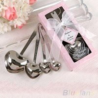 Wholesale 2016 New One Set of Four Heart Shaped Measuring Spoons Wedding Favors LOVE cooking tools C C