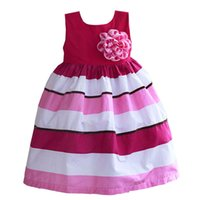 girls boutique clothes - 2015 new cool summer short sleeved striped dress girl flowers adorn children s boutique clothing