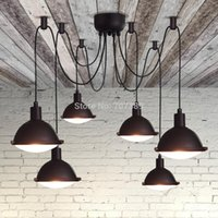 american fluorescent lights - LOFT2 RH American Countryside Vintage Retro heads motorcycle headlights deisgn pendant light lamp Black plated Glass Lampshade