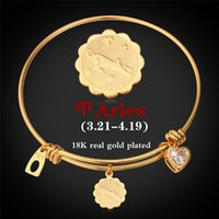 aries gifts - Platinum K Real Gold Plated Zodiac Signs Aries Bangle For Women Men Fashion Jewelry Twelve Constellation Horoscope Bracelets H961