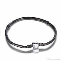 Compra Broches para los encantos-¡Nuevo! Negro promoción con 925 pulsera broche de plata esterlina para los encantos europeos rebordea 17-23cm Longitud de la joyería DIY