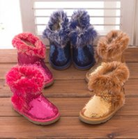 Wholesale 9 off Winter Sequined baby snow boots Korea True cony hair Boys and girls cotton snow boots in stock DROP SHIPPING hot sale pairs l10pcs