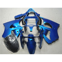 Montagem da Kawasaki ZX6R Moto Carenagem do Corpo Kit Ano 2000 2001 2002 00 01 02 Moto Carroceria Azul Preto Corrida Ninja Carenagem