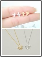 Wholesale 1 Set Order Charm France Fleur De Lis Necklace Earring Gold Silver Stainless Steel Jewelry For Women Men Teens Bff Wedding Gift