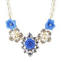 Perles roses France-Collier de fleurs bleu, rose, vert Pendentifs Colares Femininos avec simulé Perle Femmes Accessoires