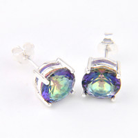 Wholesale 6 Pairs Luckyshine Gentle Round Shiny Colored Mystic Topaz Gems Sterling Silver Plated Stud Earrings Russia Canada Stud Earrings Jewelry