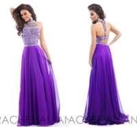 Cheap RACHELALLAN Prom Dresses Abendkleider 2015 Crystal Beaded Long Dress Party Teen Sexy Backless Purple Bling Graduation Gowns ZC05