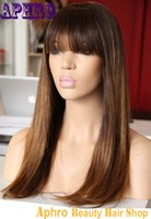Wholesale Unprocessed Brazilian Virgin Hair Silk Top Full Lace Ombre Blonde Wigs With Bangs Density Human Hair Glueless Lace Front Wigs