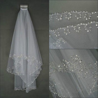 Wholesale 2015 Bridal Veils Cheap Soft Tulle Two Layer Elbow Length Veils Beaded Edge White Ivory Veils for Wedding Events Bridal Accessories