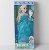 "Cheap 11.5inch Frozen Musical player Doll Anna and Princess Elsa with olaf music ""let it go"" Music Toys For kids baby girls Birthday christmas"