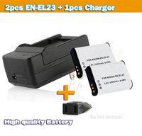 Cheap ccessories Parts Digital Batteries New arrival 2pcs 2000 mAh digital camera battery EN-EL23 enel23 + EL23 charger for Nikon S810c Coolpix...