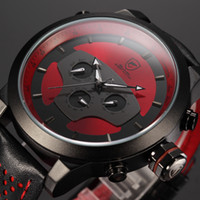 shark - Shark Hands Leather Strap Calendar Dual Time Zone Wristwatch Black Red D Dial Cycling Analog Quartz Multifunction Men Sport Watch SH207