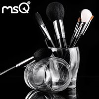 aluminium makeup case - MSQ Professional Travel Makeup Brushes Set Top Grade Animal Hair Natural Wood Handle Silver Aluminium Tube With PU Leather Black Case