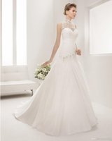 Cheap Sexy 2015 High Neck Wedding Dresses A-Line Jacket Sweetheart Sleevless Pleats Hand Made Flower Beads Court Train Covered Button Stain Birdal