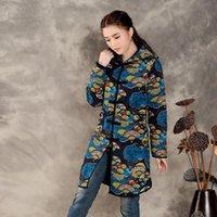arc jacket - Chinese Fan shaped Printing Hooded Long sleeved Thick Cotton Jacket Women Pankou Arc Stylish Winter Long Coat M1804