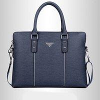 Hot style européen et américain Casual épaule bleu d'affaires Sac en cuir PU Zipper solide Sac Messenger Porte-documents